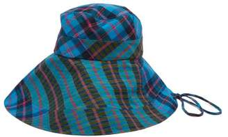Lola Hats Georges Checked Cotton Bucket Hat - Womens - Blue