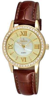 Peugeot Women's '14K Gold Plated' Quartz Metal and Leather Dress Watch