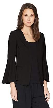 Kensie Women's Stretch Crepe Blazer with Bell Sleeve