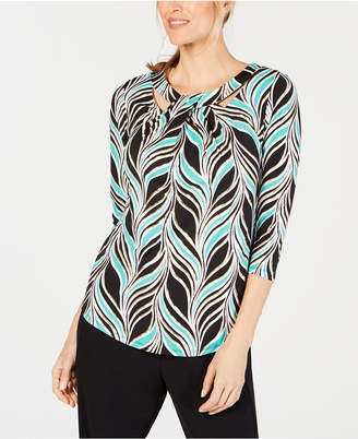JM Collection Printed Twist-Neck Top