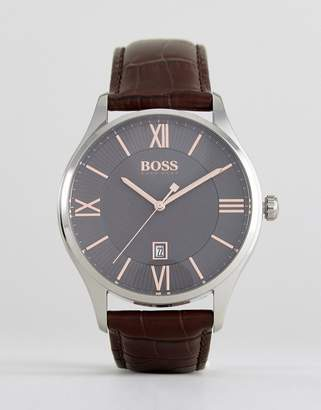 BOSS 1513484 Governor Leather Watch In Brown