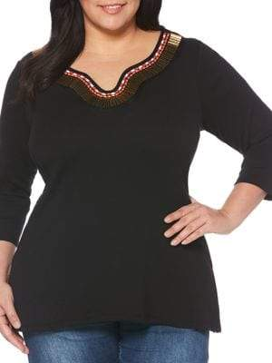 Rafaella Plus Beaded Trim Cotton Tunic