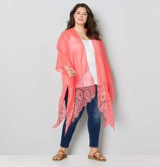 Avenue Plus Size Coral Kimono With Lace Trim