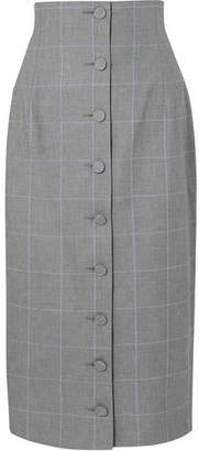Off-White Checked Cotton Midi Skirt - Gray
