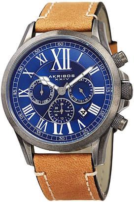 Akribos XXIV Mens Silver Tone And Black Strap Watch A-897SSB