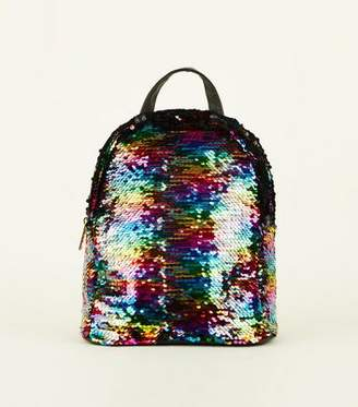 New Look Rainbow 2 Way Sequin Mini Backpack