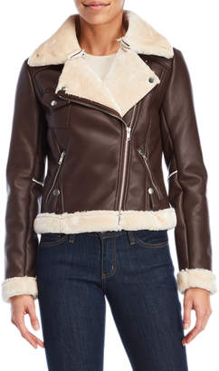 Romeo & Juliet Couture Romeo + Juliet Couture Trimmed Faux Leather Moto Jacket