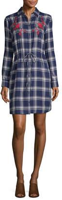 A.N.A Long Sleeve Embroidered Shirt Dress - Tall