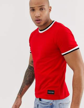 Calvin Klein pique tipped ringer crew neck t-shirt in red