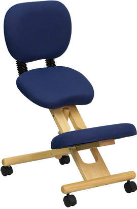 Asstd National Brand Mobile Wooden Ergonomic Kneeling Posture Chair with Reclining Back