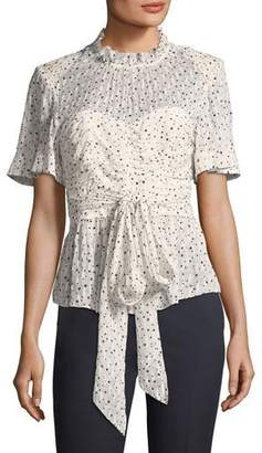 Rebecca Taylor Short-Sleeve Tie-Waist Star-Print Blouse