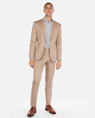 Express Slim Light Brown Cotton Sateen Stretch Suit Jacket