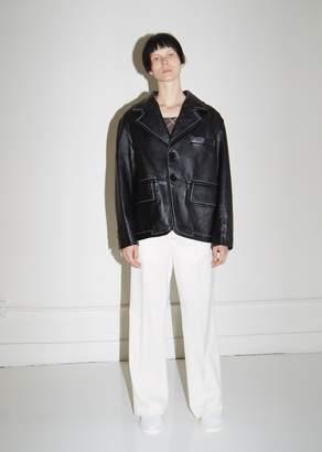 MM6 MAISON MARGIELA Leather Blazer with White Contrast Stitching