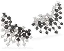 Hueb Diamond& 18K White& Black Gold Ear Crawler Earrings
