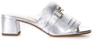 Tod's Silver Open Fringed Sandals In Leather