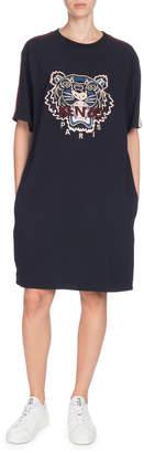 Kenzo Short-Sleeve Tiger Logo Tee Dress with Pockets