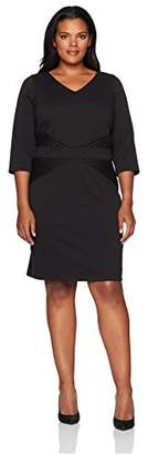 Ellen Tracy Women's Quarter Sleeved Ponte Dress-Plus Size