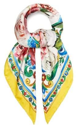 Dolce & Gabbana Floral Print Silk Scarf - Womens - Yellow