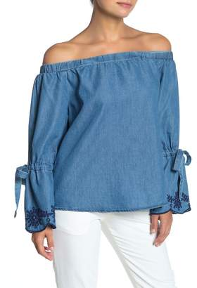 Naked Zebra Chambray Off-the-Shoulder Bell Sleeve Top