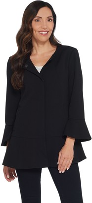 Dennis Basso Luxe Crepe Peplum Jacket with Flounce Sleeves