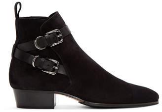 Balmain Black Suede Egid Boots