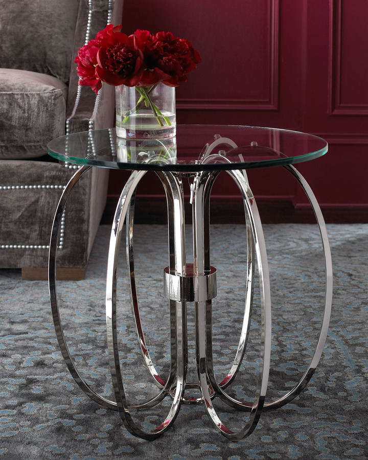 Global Views Silver & Glass Side Table