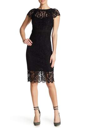 Bebe Cap Sleeve Lace Midi Dress