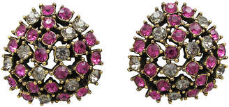 One Kings Lane Vintage Teardrop Fuchsia & Smoke Earrings