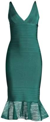 Herve Leger Illusion Mesh Flutter Hem Midi Dress