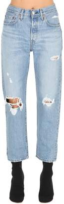 Levi's 501 High Waist Cropped Destroyed Jeans