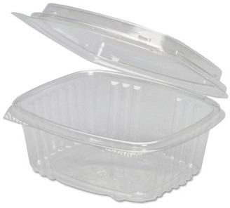 clear Genpak 12 oz Plastic Hinged Deli Containers, Clear, 100 count
