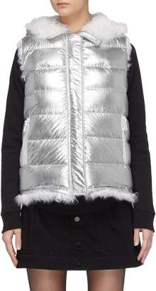 Yves Salomon Army By Lamb fur trim reversible hooded down puffer vest