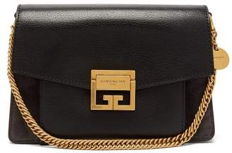 Givenchy Gv3 Small Suede And Leather Cross Body Bag - Womens - Black Grey