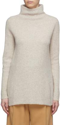Vince Boiled cashmere rib knit turtleneck tunic sweater