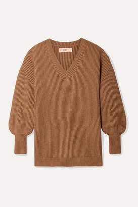 Apiece Apart Napoli Oversized Ribbed Cotton And Cashmere-blend Sweater - Camel