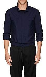 Giorgio Armani Men's Silk Shantung Blouson Shirt-Navy
