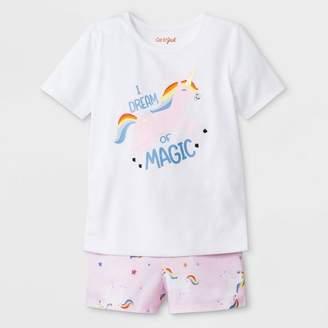 Cat & Jack Toddler Girls' I dream of Magic Jersey with Unicorn Printed Bottom Pajama Set Fresh White