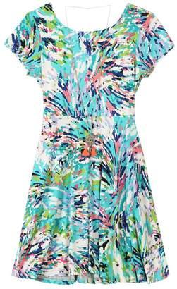 Speechless Big Girls' Printed Jersey Cap Slv Dress