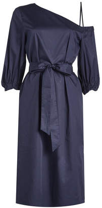 Tibi Cotton One-Shoulder Dress with Tie Belt