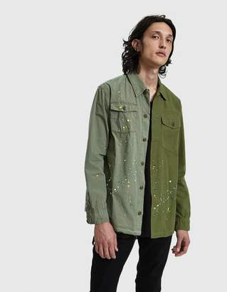 John Elliott Distorted Military Button Up Shirt in Washed Olive