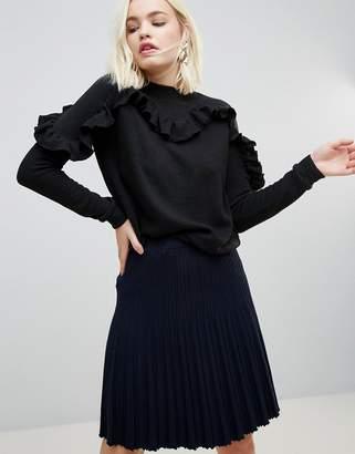 Hazel Frill Sleeve Knit Sweater