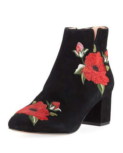 Kate Spade New York Langton Embroidered Suede Bootie