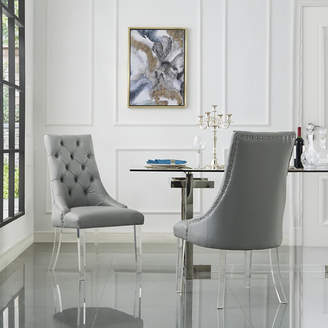Asstd National Brand Inspired Home Set of 2 Winona PU Leather Acrylic Leg Armless Dining Chairs