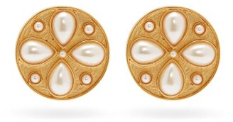 Rebecca De Ravenel Pamina 24kt Gold Plated Coin Earrings - Womens - White