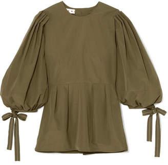 Marni Pleated Cotton-poplin Peplum Shirt - Green