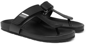 Prada Rubber-Trimmed Leather Sandals