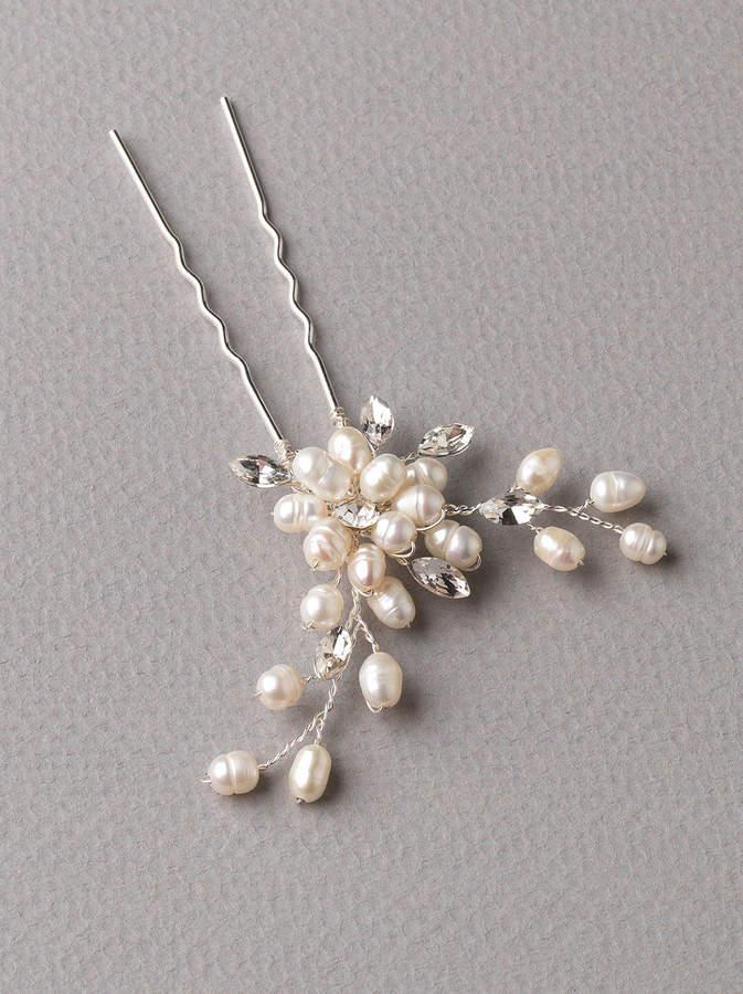 Etsy Floral Wedding Hairpin. Wedding Headpiece, Bridal Hairpin, Pearl Wedding Accessory, Rhinestone Flora