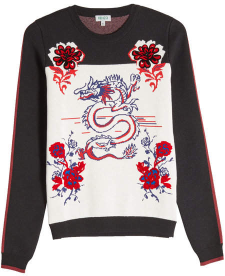 Printed Knit Pullover with Wool and Cotton