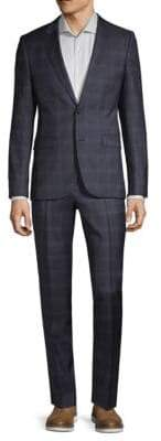 HUGO BOSS Windowpane Plaid Wool Suit
