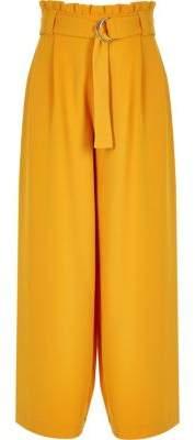 River Island Girls yellow paperbag waist wide leg pants